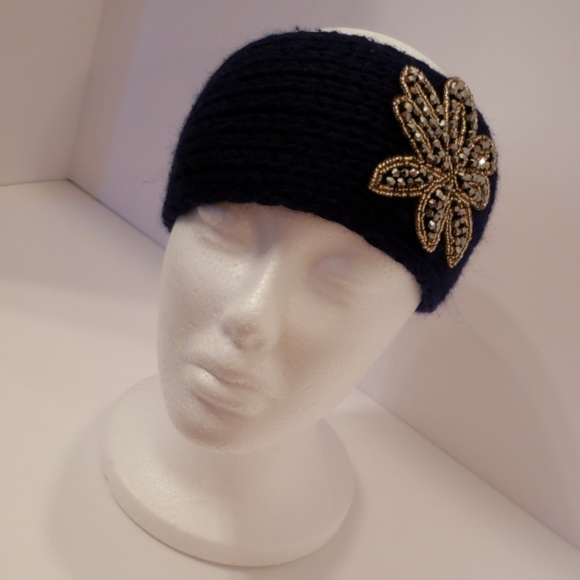 Accessories - Knitted Sweater Bling Headband- Navy Blue